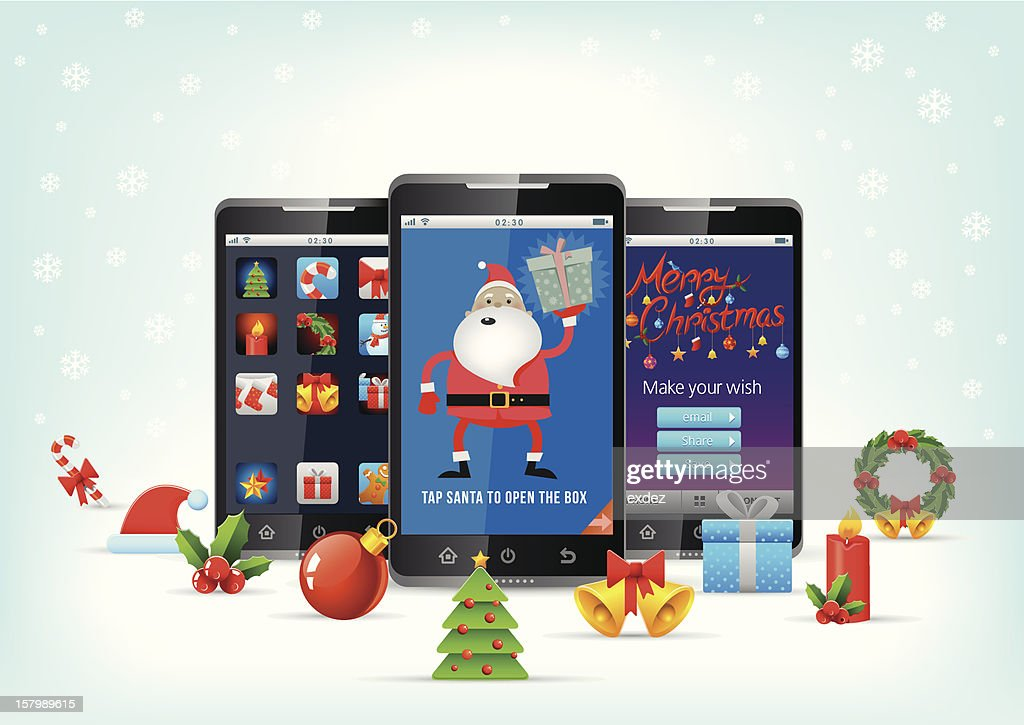 Christmas celebration on smartphone : Vector Art