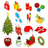 Christmas Celebration Set Icons 3d Isometric View for Web and App Include of , Bell, Tree, Candle, Sock and Mitten. Vector illustration