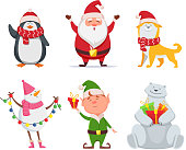 Christmas characters in cartoon style. Santa, yellow dog, elf. Penguin and snowman. Holiday cute bear and santa claus. Vector illustration