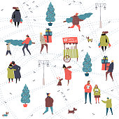 Christmas city preparations hand drawn seamless pattern with people, eve tree and dog. Colour illustration for gift wrapping, post card, invitation, web and app wallpaper design