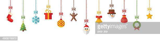 Christmas Colored Hanging Elements - illustration