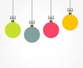 Christmas colorful balls hanging ornaments. Vector illustration