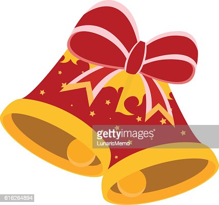 Christmas concept by Bells have a ribbon : Vector Art
