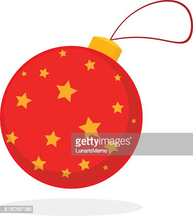 Christmas concept by rad ornaments with stars. : Vector Art
