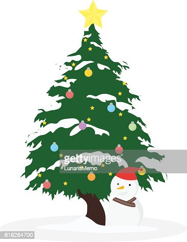 Christmas concept by tree and the snowman : Vector Art