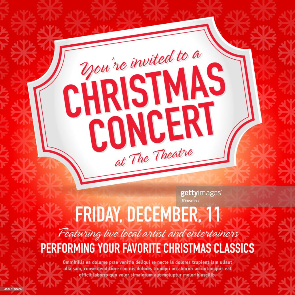 Christmas Concert Ticket Invitation Design Template Vector Art – Concert Ticket Invitation Template