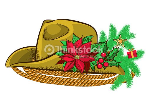 deb9c848d76 Christmas Cowboy Hat And Holiday Elements Vector Art