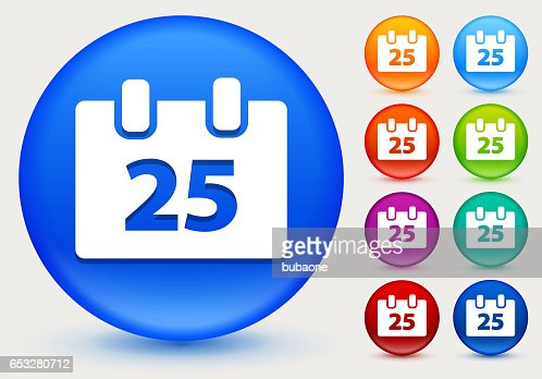 25 Christmas Day Icon on Shiny Color Circle Buttons : Vector Art