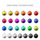 Christmas decoration balls range. Matt shade Christmas balls isolated on a white background realistic vector illustration