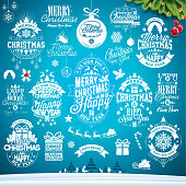 Christmas decoration collection of calligraphic and typographic design with Holiday labels, symbols and icons design elements on blue winter landscape background. Vector illustration set