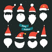 Christmas Decoration collection, Props and cute photo ovelays. Santa hat and beard, vector new year set