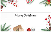 Vector illustration of Christmas decoration on wooden background