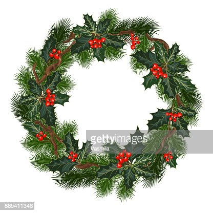 christmas decorations with holly and red berries : Vector Art