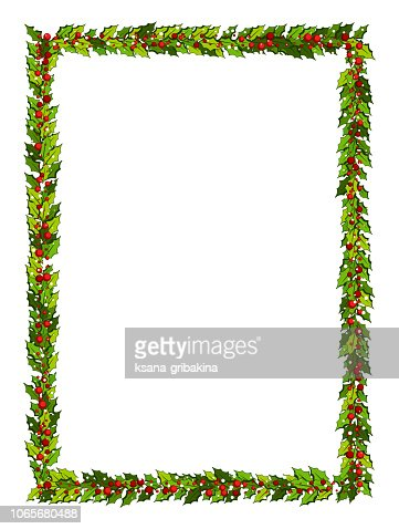 Christmas decorations with holly leaves and red berries. Vertical frame with copy space, : stock vector
