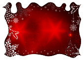 Christmas red design with white curly frame, silhouette of snowflakes and abstract Christmas tree.