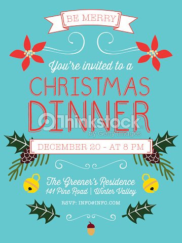 christmas dinner party flyer vector art thinkstock