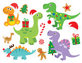 Vector illustration of cute Christmas holiday dinosaur set. Dinosaur with Christmas lights and gifts. Cute dinosaur wearing Santa hat.