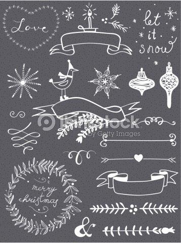christmas doodle chalkboard graphic set vector art thinkstock