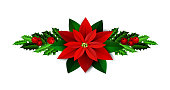 Christmas decoration with evergreen treess holly and berries and poinsettia isolated