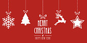 christmas elements hanging red background