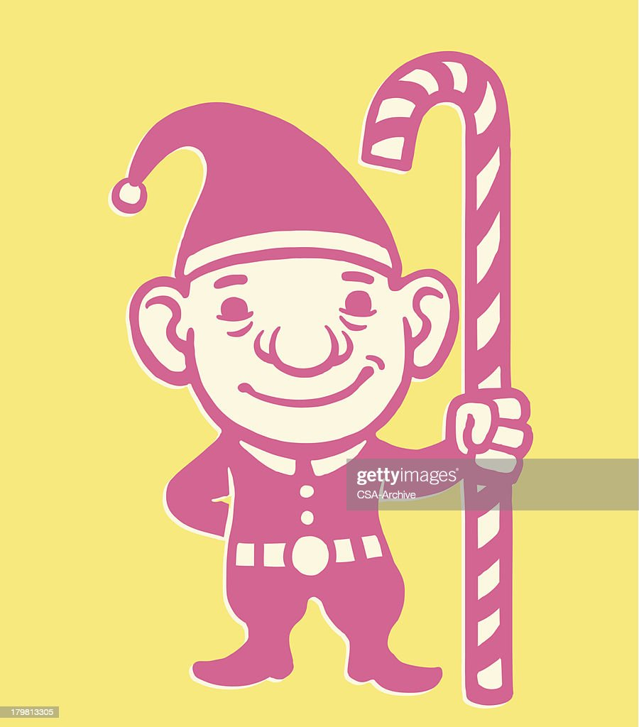 christmas elf and candy cane vector art getty images