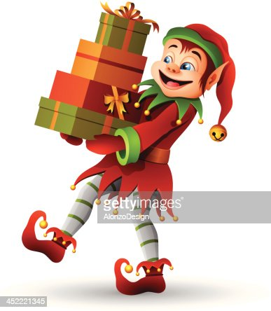 Christmas Elf With Gifts Vector Art | Getty Images