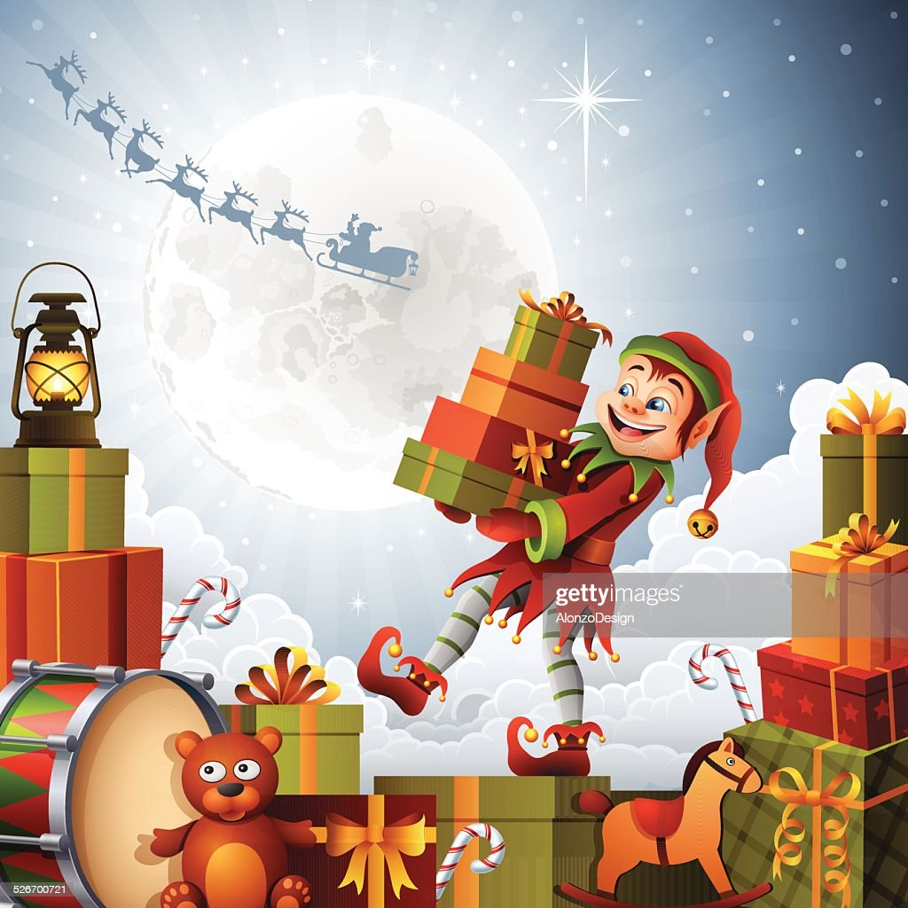 christmas elf with gifts vector art getty images