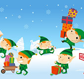 Christmas Elves playing with their presents on the snow in the North Pole. With Snowy pines and snow flakes vector illustration.