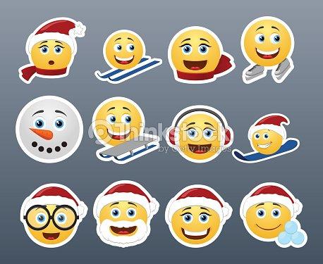 christmas emoticon smiley faces vector art - Christmas Smiley Faces
