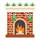 Christmas fireplace flat icon, New year and Christmas, xmas sign vector graphics, a colorful solid pattern on a white background, eps 10.