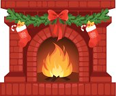 Vector illustration of Christmas fireplace