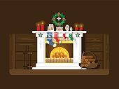 Christmas fireplace. Xmas and fire, home decoration, interior for celebration, flat vector illustration