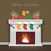 Christmas fireplace and socks. flat vector illustration
