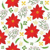 Christmas floral seamless pattern, flat design for use as background, wrapping paper or  wallpaper gift