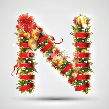 Christmas Font Letter N Of Christmas Tree Branches Decorated With A