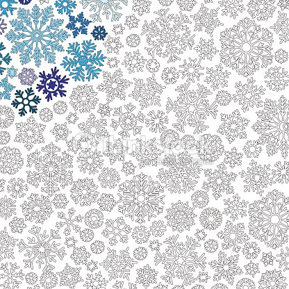 christmas frame from snowflakes pattern for coloring book vector art