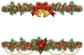 Christmas garlands with fir branches and decorative elements.Christmas border with berry and ribbon.