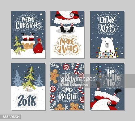 Christmas gift cards or tags with lettering. Hand drawn design elements. : Arte vettoriale