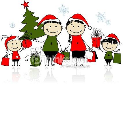 Regali Di Natale Famiglia.Regali Di Natale Famiglia Con Borse Della Spesa Arte Vettoriale