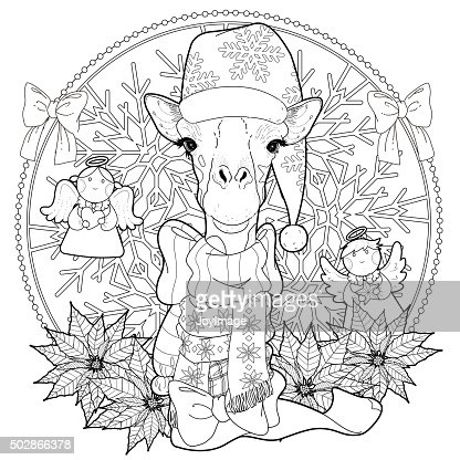 Christmas Giraffe Coloring Page Vector Art Thinkstock Giraffe Color Page