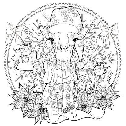Jirafa De Navidad Para Colorear Página Arte vectorial | Thinkstock