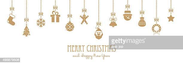 Suspension dorée éléments de Noël et les salutations Texte-illustration
