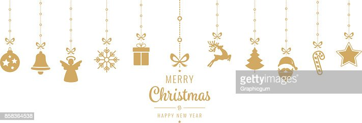 christmas golden ornament elements hanging isolated background : Arte vettoriale