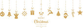 christmas golden ornament elements hanging isolated background