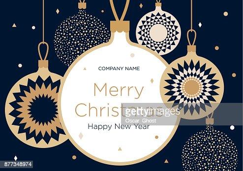 Banner de Navidad felicitación o tarjeta. Bolas de Navidad doradas sobre un fondo azul oscuro : Arte vectorial