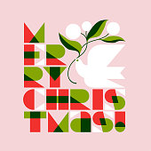 Christmas greeting card with Merry Christmas lettering and flying dove with flower bouquet