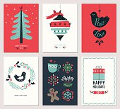 Merry Christmas and Happy New Year greeting cards set. Vector illustration.