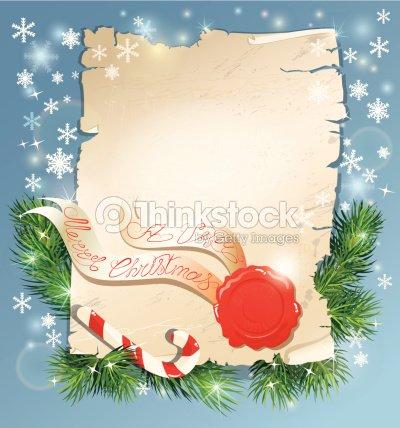 Christmas greeting magic scroll with wax seal of santa claus vector christmas greeting magic scroll with wax seal of santa claus vector art m4hsunfo