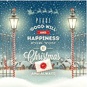 Christmas greeting type design with vintage street lantern against a evening rural winter landscape - holidays vector illustration.