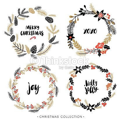 Christmas Greeting Wreaths With Calligraphy Vector Art